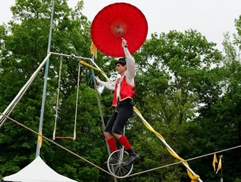 Unicycle Rider on  Rope-Courtesy of Donnie Roberts/The Dispatch