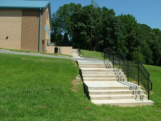 Concrete steps leading to Police Training Center