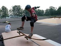 Skate boarder in skate park