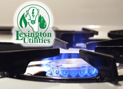 Natural gas cook-top with Lexington Utilities logo