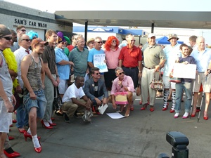 Walk a mile in her shoes, domestic violence fundraiser.