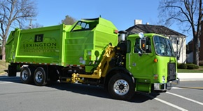 "Lexington's new hybrid recycling truck with ""Recycle First"" logo"