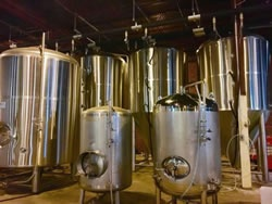 Brewing tanks at Bull City Ciderworks