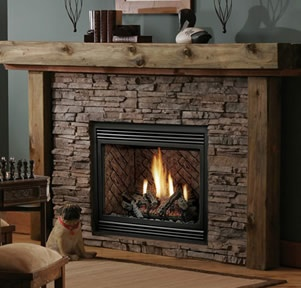 Fireplace with gas logs