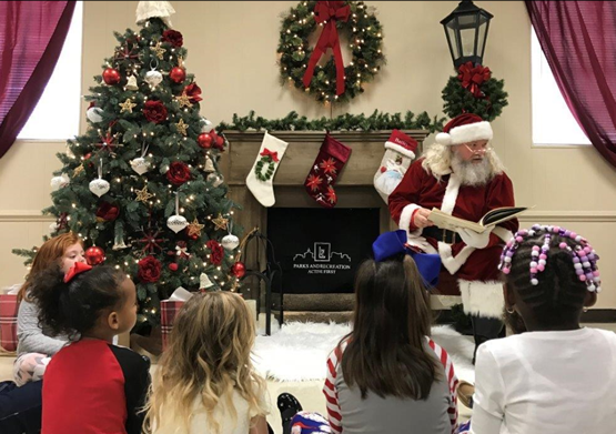 Santa reading to children