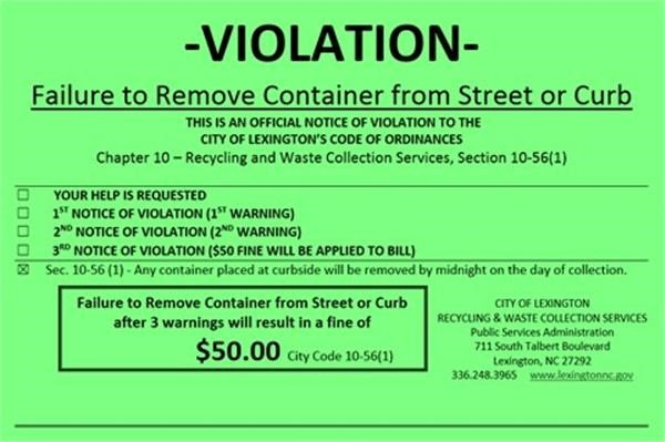 Green Violation Sticker