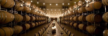 Childress wine cellar setting for large dinner party.