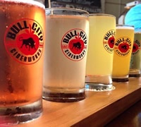 Glasses of cider on the bar at Bull City Cider House